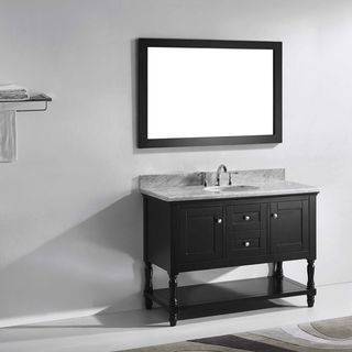 Virtu USA Julianna 48-inch Single Sink Italian Carrara White Marble Bathroom Vanity Set with Faucet