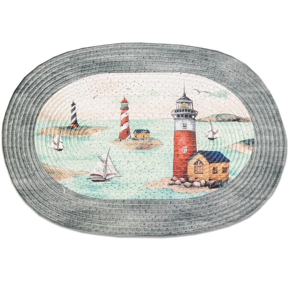Multicolor Acrylic/Cotton/Olefin Braided Lighthouse Rug (...
