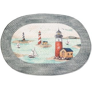 Multicolor Acrylic/Cotton/Olefin Braided Lighthouse Rug (1'8 x 2'6)
