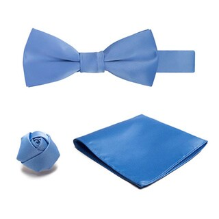 Jacob Alexander Boys' Microfiber Pre-tied Banded Bow Tie, Hanky, Rose Lapel Flower 3-piece Set
