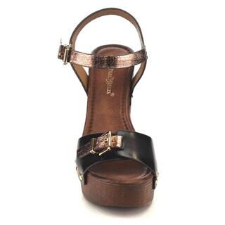 Beston Women's Studded Chunky Heels