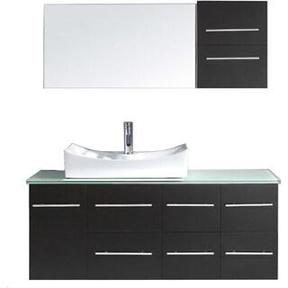 virtu usa ceanna 55inch single glass top bathroom vanity set