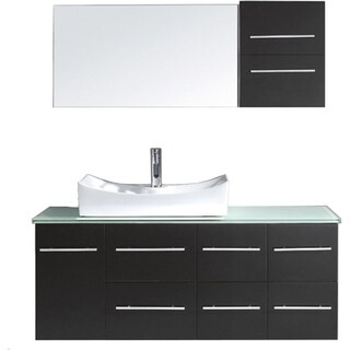 Virtu USA Ceanna 55-inch Single Glass Top Vanity with Faucet