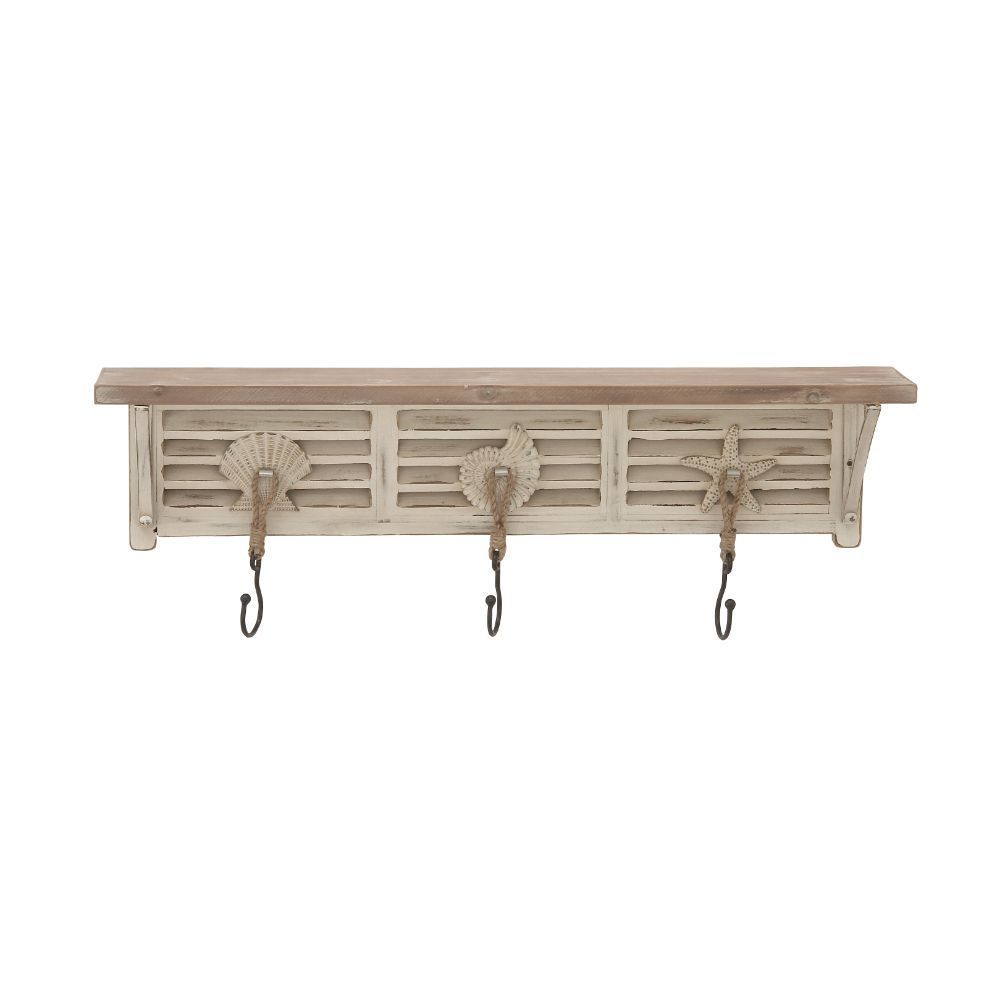 shop off white wood nautical theme wall shelf with hooks free shipping on orders over 45. Black Bedroom Furniture Sets. Home Design Ideas