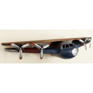 Metal and Wood Aviator Plane Wall Shelf