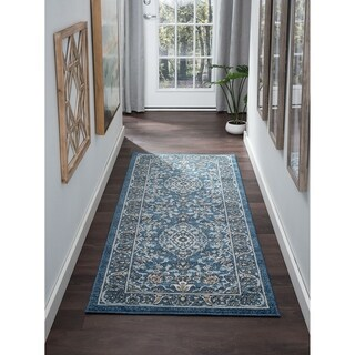 Alise Rugs Kinsley Navy/Grey Area Rug (2'7 x 7'3)