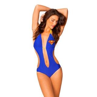 Women's Superman Blue Lycra Knot Plunge Monokini Swimsuit