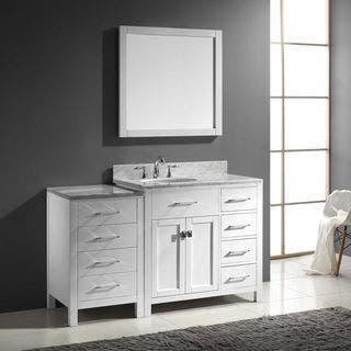 Bathroom Vanity Set. Virtu USA Caroline Parkway 57 inch Single Bathroom Vanity Set with Right  Mounted Drawers Size Vanities 51 60 Inches