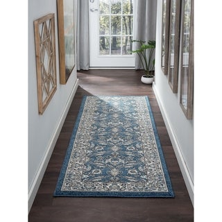Alise Rugs Kinsley Blue/Grey/Navy Polypropylene Oriental Machine-made Rug (2'7 x 7'3)