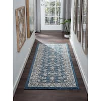 Alise Rugs Kinsley Blue/Grey/Navy Polypropylene Oriental Machine-made Rug - 2'7 x 7'3