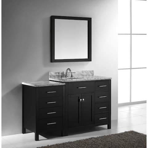 Virtu USA Caroline Parkway 57-inch Single Bathroom Vanity Set with Faucet and Right Mounted Drawers