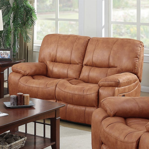 Silverado Golden Brown Printed Leather Fabric Modern Reclining Living Room  Loveseat