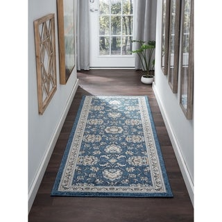Alise Rugs Kinsley Blue/Grey/Navy/Beige Polypropylene Machine-made Oriental Area Rug - 2'7 x 7'3