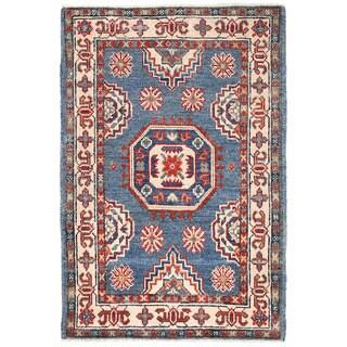 Herat Oriental Afghan Hand-knotted Kazak Blue/ Ivory Wool Rug (2' x 3')
