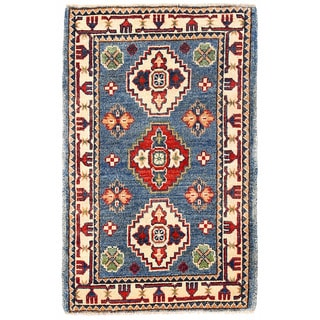 Herat Oriental Afghan Hand-knotted Kazak Blue/ Ivory Wool Rug (1'11 x 3'3)
