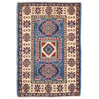 Herat Oriental Afghan Hand-knotted Kazak Wool Rug (1'11 x 2'10)