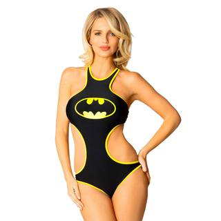 Women's Black Lycra Batman High Neck Machine Washable Monokini