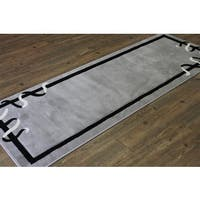 Ribbons and Block Black Grey White Hand Carved Runner Area Rug