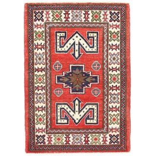 Herat Oriental Afghan Hand-knotted Kazak Rust/ Ivory Wool Rug (2' x 2'11)
