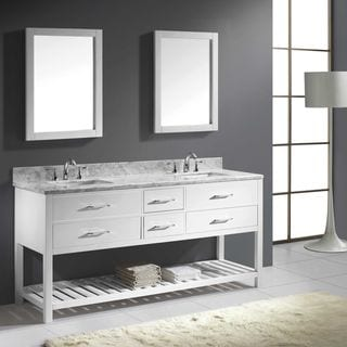 Virtu USA Caroline Estate 72-inch Square Double Bathroom Vanity Set with Faucets
