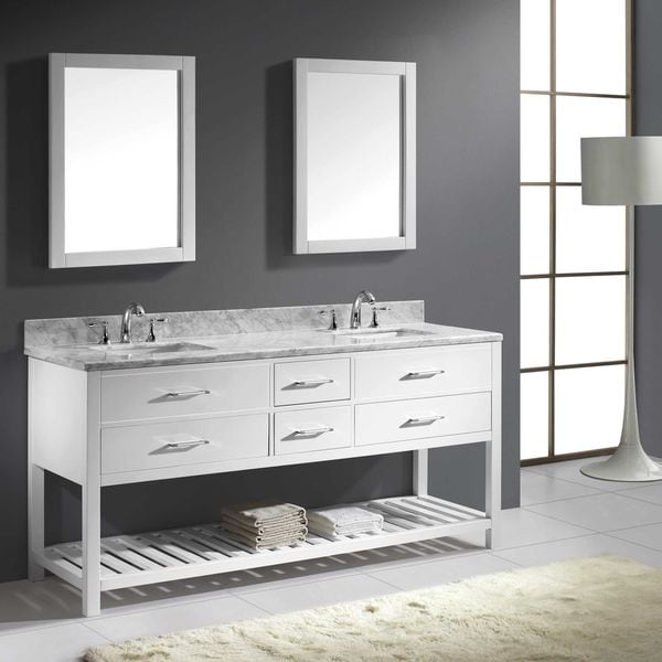 Virtu Usa Caroline Estate 72 Inch Italian Carrara White Marble Square Double Bathroom Vanity Set