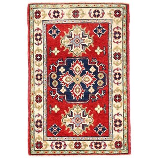 Herat Oriental Afghan Hand-knotted Kazak Red/ Ivory Wool Rug (2'1 x 3'1)
