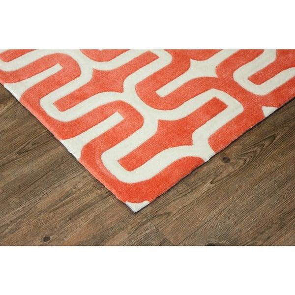 Orange White Area Rug - 7'6 x 10'3
