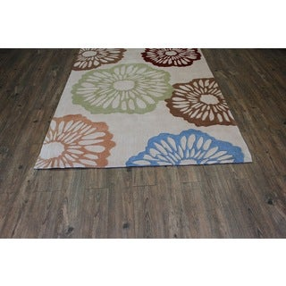 Blue Beige Brown Green Area Rug (7'6 x 10'3)
