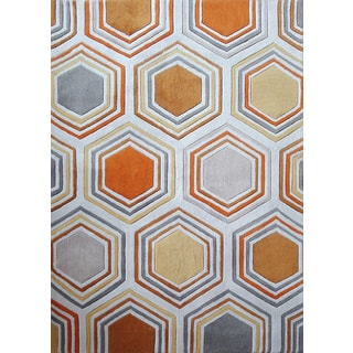Orange White Grey Copper Area Rug (7'6 x 10'3)