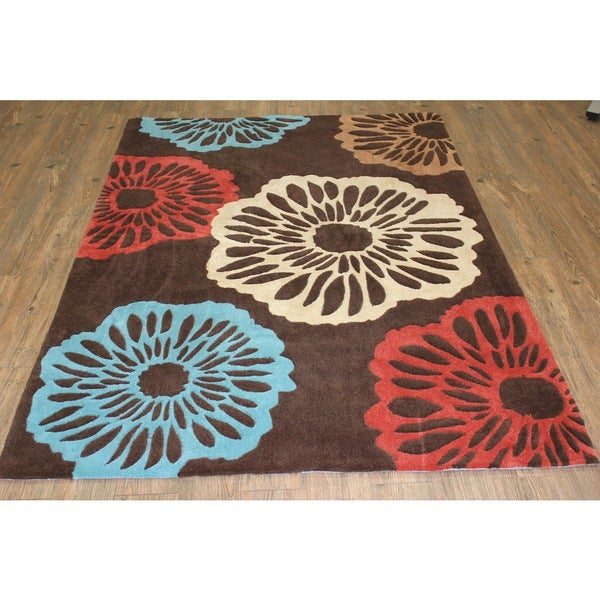 "Blue Beige Brown Copper Area Rug - 7'6"" x 10'6"""