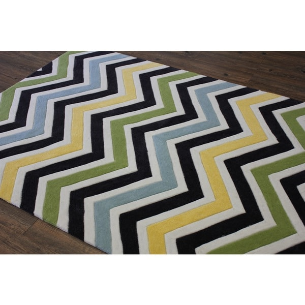 Green Blue Yellow White Charcoal Color Area Rug - 7'6 x 10'3