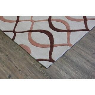 Beige Brown Aztac Area Rug (7'6 x 10'3)