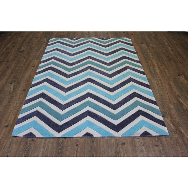 "Blue White Charcoal Color Area Rug - 7'6"" x 10'6"""