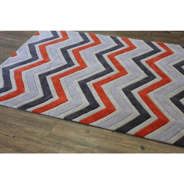 "Orange Grey Charcoal Beige Color Area Rug - 7'6"" x 10'6"""