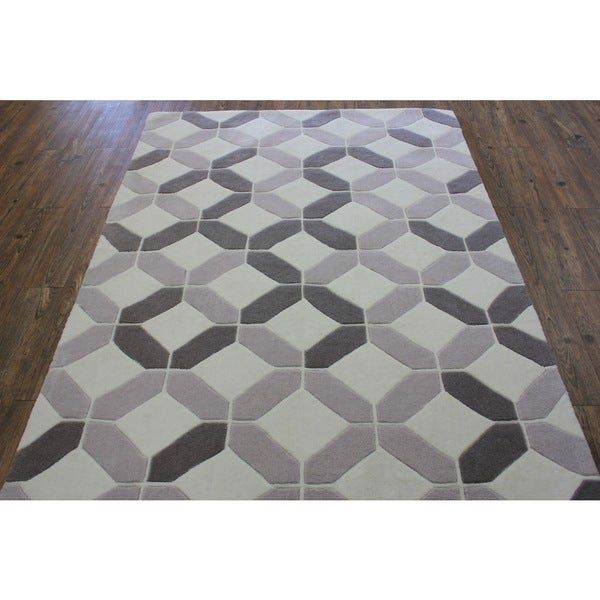 "Light Beige Silver Grey Color Area Rug - 7'6"" x 10'6"""