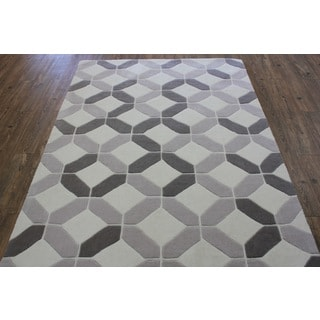 Light Beige Silver Grey Color Area Rug (7'6 x 10'3)