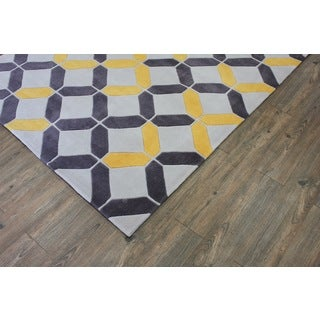 Yellow Grey Beige Color Area Rug (7'6 x 10'3)