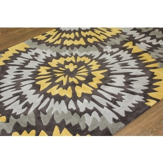 Wheel Yellow Silver Grey Charcoal Color Area Rug (7'6 x 10'3)