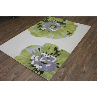 Beige Green Flower White Silver Grey Color Area Rug (7'6 x 10'3)