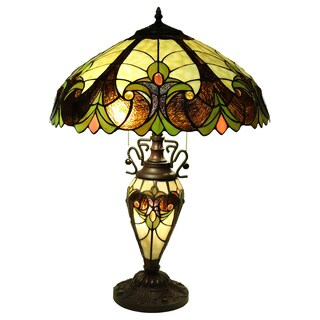 Handalaya 3-light Double-lit 18-inch Tiffany-style Table Lamp