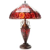 Angie Double-lit Stained Glass 24-inch Turtleback-style Table Lamp