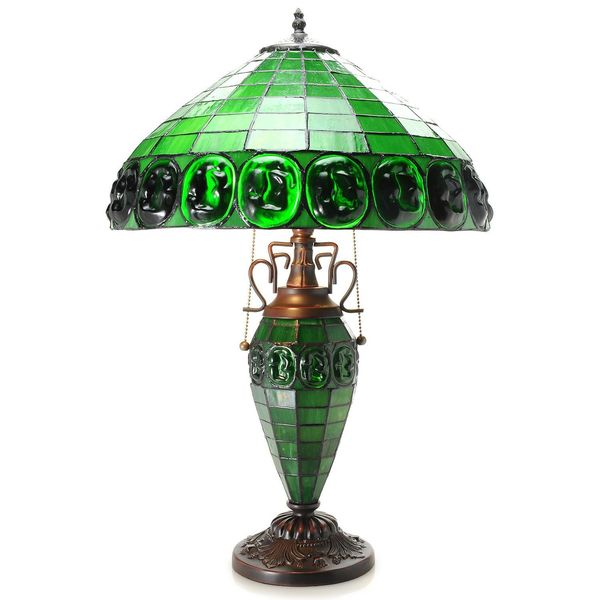 Warehouse Of Tiffany Leighton Double Lite Turtle Back Stained Glass Table  Lamp
