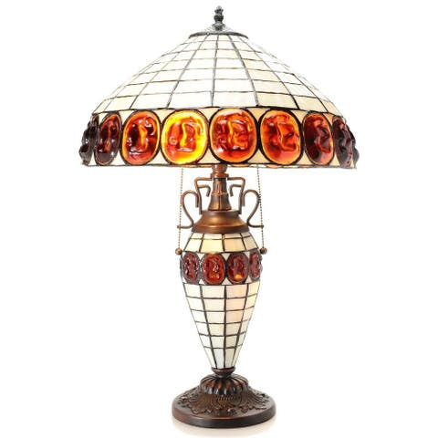 Warehouse of Tiffany Naciona 24-inch Double-lit Stained Glass Turtleback-style Table Lamp
