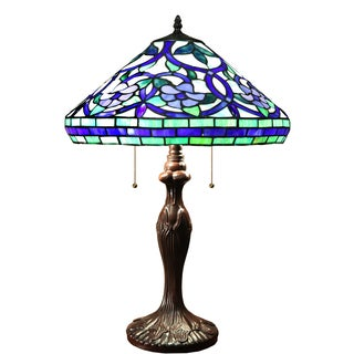 Warehouse Of Tiffany Multicolored Stained-glass 16-inch Tiffany-style Table Lamp