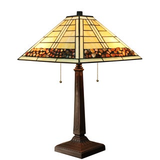 Warehouse of Tiffany 14-inch Stone Pattern 2-light Tiffany-style Table Lamp