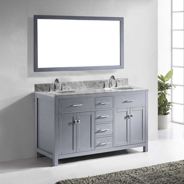 Shop caroline 60 inch grey double bathroom vanity set with white marble top on sale free for Caroline 60 inch double sink bathroom vanity set