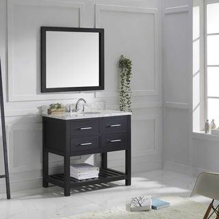 Virtu USA Caroline Estate 36-inch Italian Carrara White Marble Single Bathroom Vanity Set with Faucet