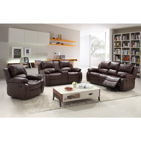 Madison bonded leather 3 piece modern rocking reclining for 3 piece living room table sets