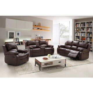 Madison Bonded Leather 3-piece Modern Rocking Reclining Living Room Sofa Set with Drop-down Table, and Center Console