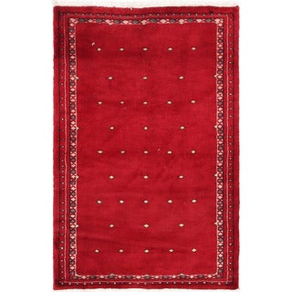 Herat Oriental Pakistani Hand-knotted Bokhara Red/ Ivory Wool Rug (2'8 x 4')